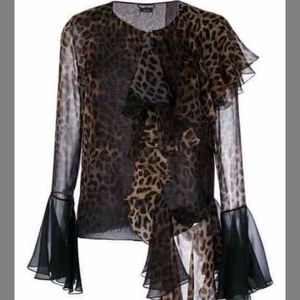 Tom Ford stylized leopard blouse Size 40/US4